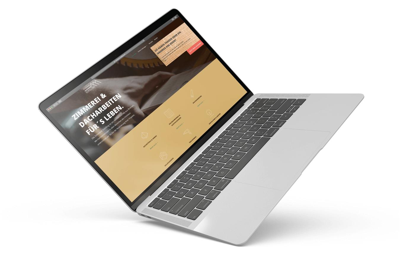 Macbook zeigt Website zimmerei-schilling.com